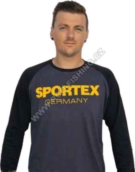 713f92303794 Tričko Sportex s dlouhým rukávem a logem - černé - Rybářské potřeby ...